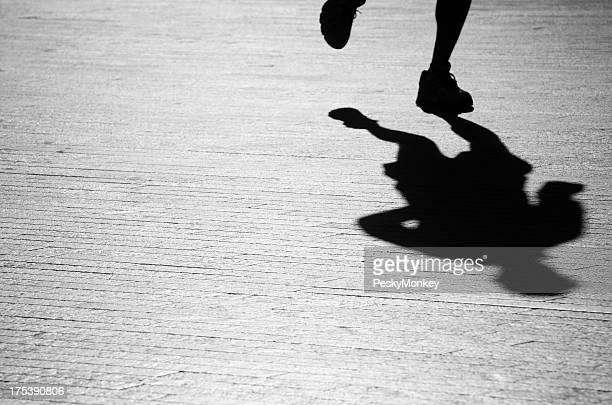 Shadow Jogger Running Across Clean Textured Background