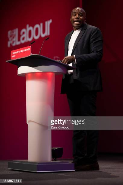 Shadow Justice Secretary David Lammy delivers his keynote speech in the main hall on day four of the Labour Party conference on September 28, 2021 in...