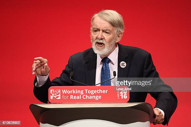 Shadow Leader of the House Paul Flynn addresses delegates at the Labour Party conference on September 27 2016 in Liverpool England On day three of...