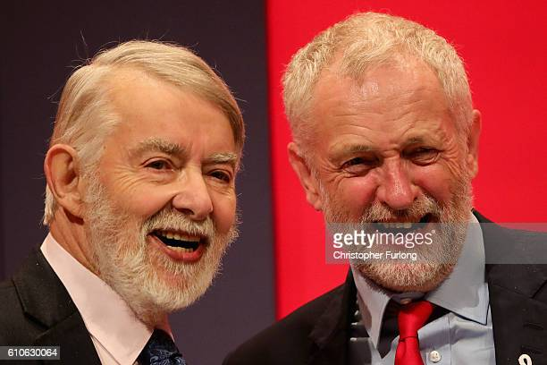 Shadow Leader of the House Paul Flynn and Labour party leader Jeremy Corbyn take the applause of delegates on September 27 2016 in Liverpool England...