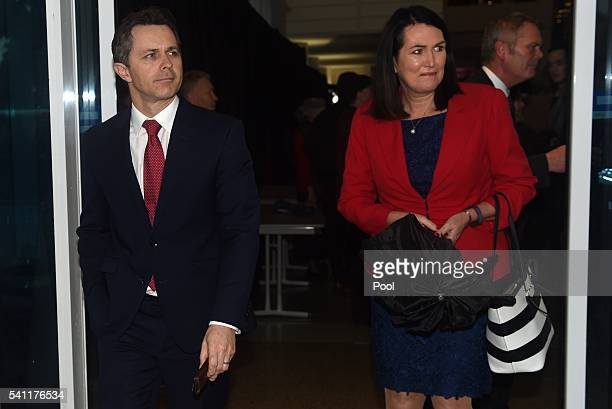 Shadow Minister for Communications Jason Clare and Senator Deborah O'Neill leave the Australian Labor Party 2016 federal election campaign launch at...