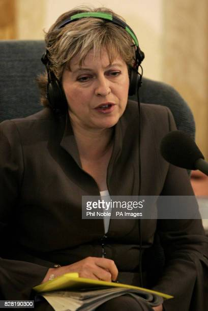 Shadow Minister for Culture Media and Sport and Family Theresa May conducts a radio interview in the lobby of the Imperial Hotel Blackpool Tuesday...