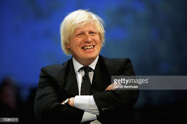 Shadow minister for higher education Boris Johnson participates in a discussion at the Bournemouth International Centre during the Conservative Party...