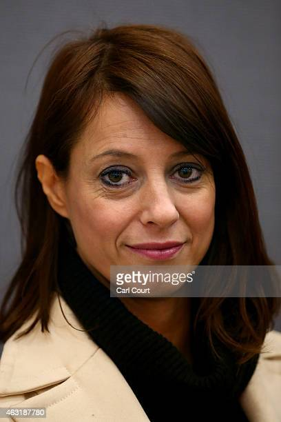 Shadow Minister for Women and Equality Gloria De Piero poses for a photograph after the unveiling of a pink van launched during a Labour campaign...