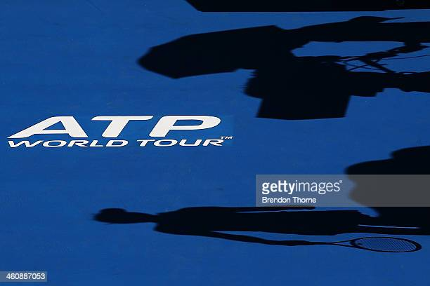 Shadow of a camera operator and Ekaterina Makarova of Russia is seen on Ken Rosewall Arena during day two of the Sydney International at Sydney...