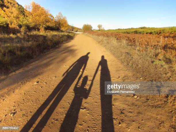 shadow of a family with little boy holding hands walking in the road - sombra em primeiro plano imagens e fotografias de stock