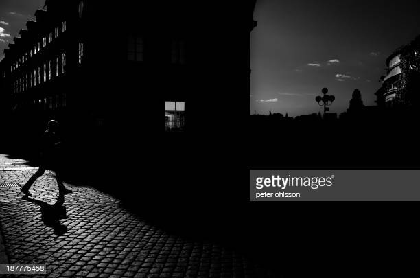 Shadow of a man crossing a cobbled stone street.