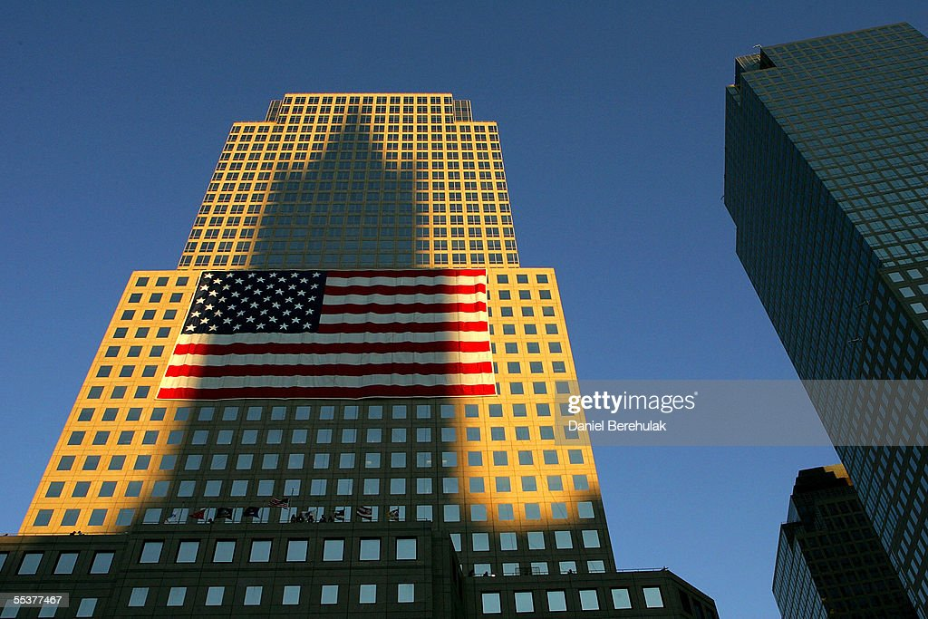 A shadow of a nearby building is cast onto the World Financial Center near Ground Zero September 11, 2005 in New York City. This is the fourth anniversary of the September 11th attacks.