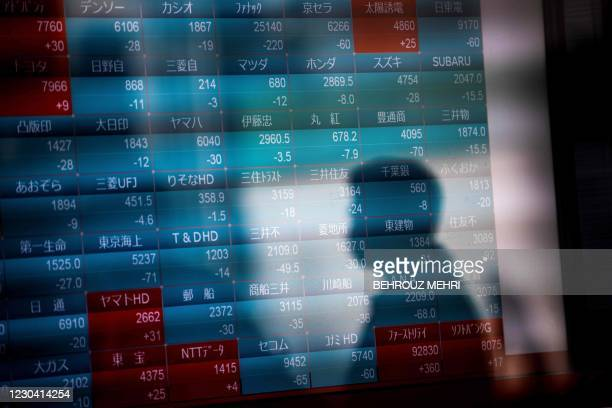 Shadow of a pedestrian is seen on a stock indicator displaying numbers of Nikkei 225 of the Tokyo Stock Exchange in Tokyo on January 4 on the first...