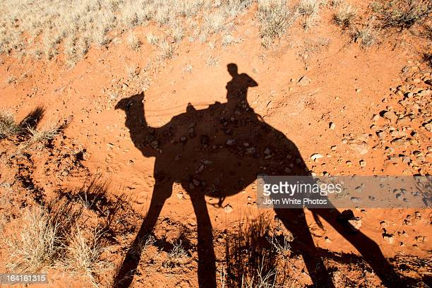 Shadow of a person riding a camel. Australia.