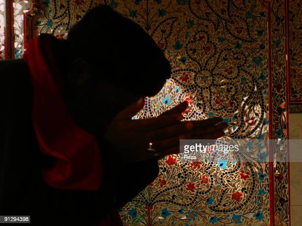 Shadow of a pilgrim praying in front of Sindh kashi tiles and mirror works inside the shrine of Bodla Bahar one of the main disciples of Lal Shahbaz...