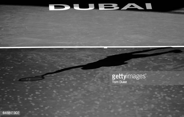 Shadow of a player is pictued on day two of the Dubai Duty Free Tennis Championship on February 27 2017 in Dubai United Arab Emirates