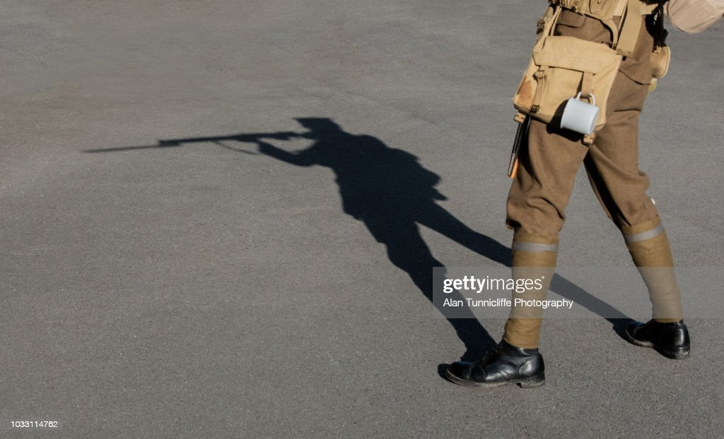 Shadow of a WW1 soldier : Stock Photo