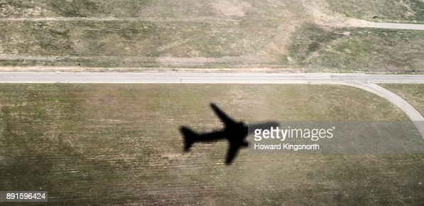 Shadow of aircraft taking off