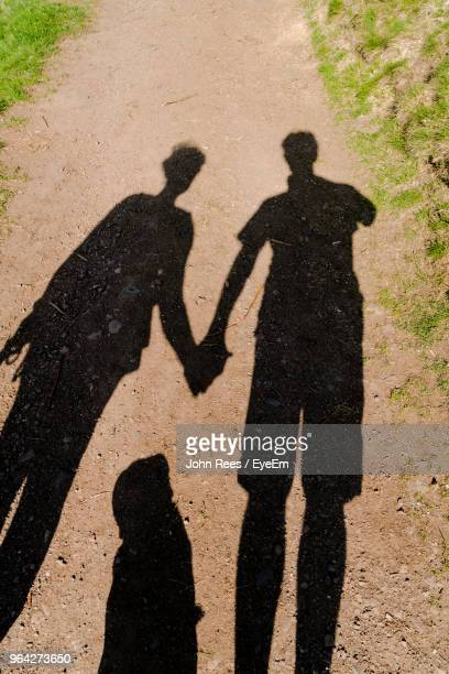 Shadow Of Couple Holding Hands On Dirt Road