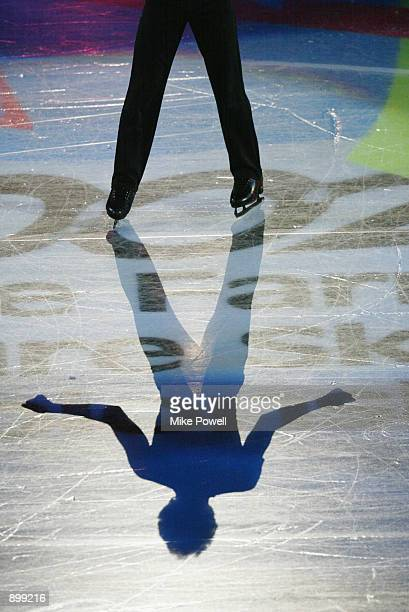 Shadow of fourth place finisher Matthew Savoie of the USA as he performs in the Skating Spectacular after the State Farm U.S. Figure Skating...