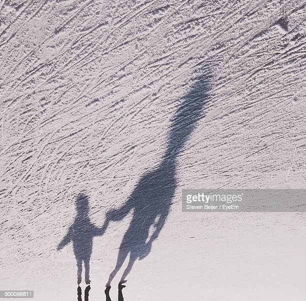 Shadow of man and kid holding hands on snow covered landscape