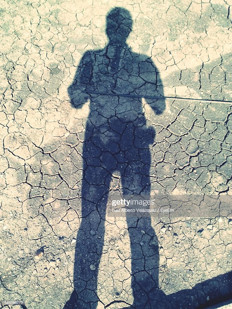 Shadow Of Man On Cracked Dirt : Foto stock