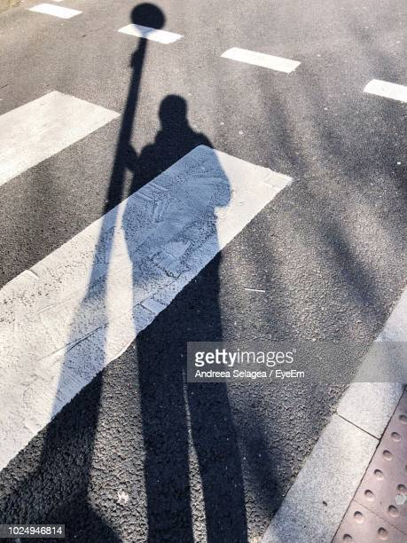 Shadow Of Person Holding Pole On Street During Sunny Day