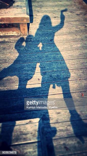 Shadow of playful mother and son on floorboard