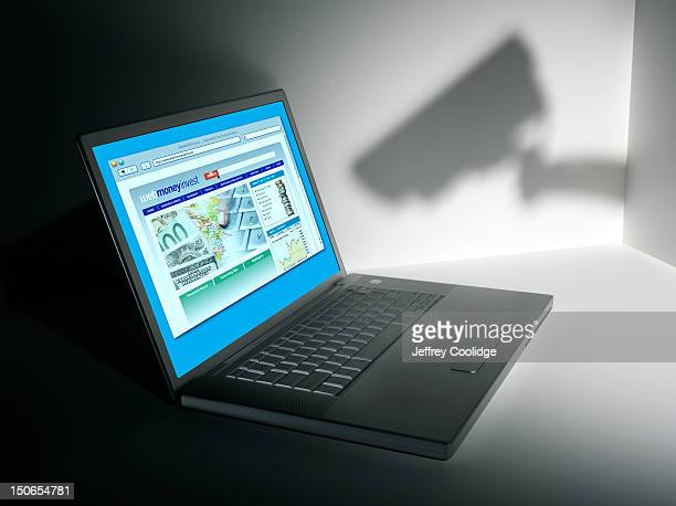 Shadow of Security Camera with Laptop