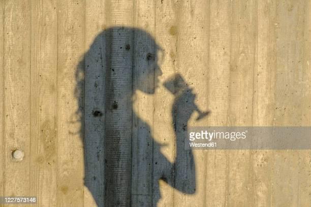shadow of teenage girl drinking glass of wine - 消毒用アルコール ストックフォトと画像