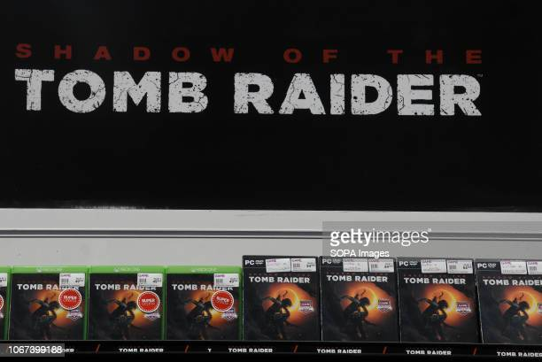 L´HOSPITALET CATALONIA SPAIN Shadow of the Tomb Raider video game sign seen during the Barcelona Games World Fair
