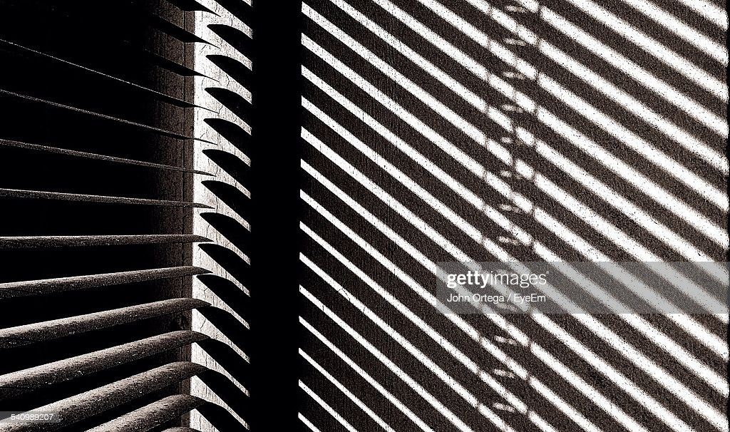 Shadow Of Window Blinds On Wall At Home Stock Photo Getty Images