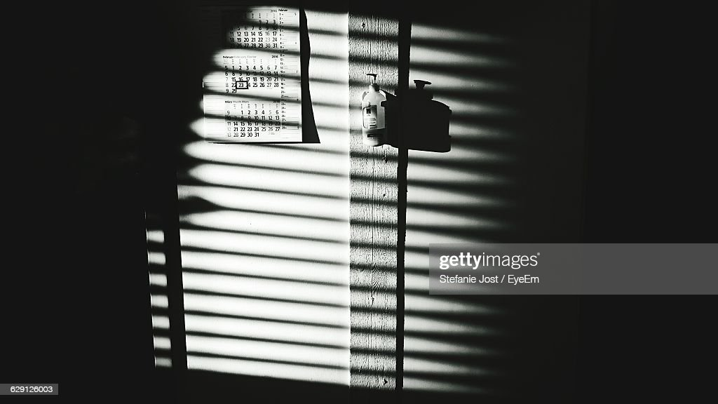 Shadow Of Window Blinds On Wall Stock Photo Getty Images