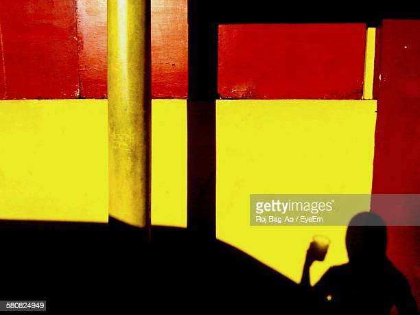 Shadow Of Woman Holding Glass On Red And Yellow Wall
