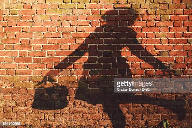 shadow of woman on red brick wall - bortes stock pictures, royalty-free photos & images