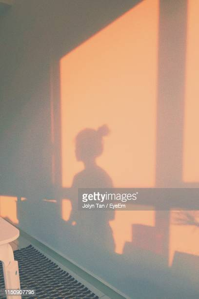 shadow of woman on wall at home - schaduw stockfoto's en -beelden