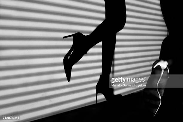 shadow of womans legs in high heels - human leg stock photos and pictures