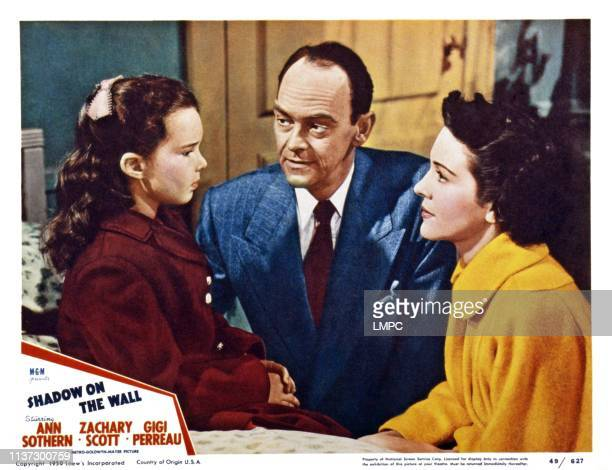 Shadow On The Wall US lobbycard from left Gigi Perreau John McIntire Nancy Davis 1950
