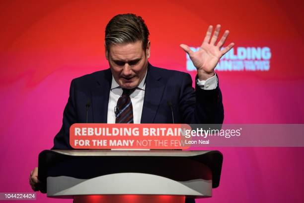 Shadow Secretary of State for Brexit Keir Starmer addresses delegates in the Exhibition Centre Liverpool during day three of the annual Labour Party...