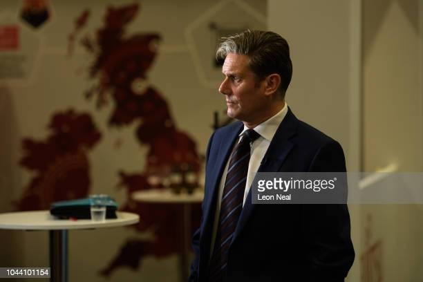 Shadow Secretary of State for Brexit Sir Keir Starmer prepares to address delegates in the Exhibition Centre Liverpool during day three of the annual...