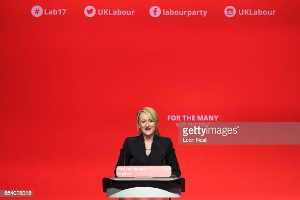 Shadow Secretary of State for Business Energy and Industrial Stategy Rebecca LongBailey address delegates on the third day of the Labour Party...
