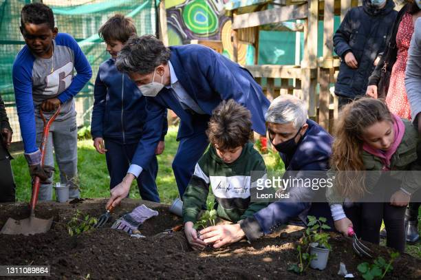 Shadow Secretary of State for Business, Energy and Industrial Strategy Ed Miliband and Mayor of London Sadiq Khan plant strawberry plants during a...