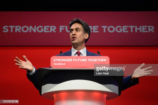 Shadow Secretary of State for Business, Energy and Industrial Strategy Ed Miliband addresses delegates on September 26, 2021 in Brighton, England....