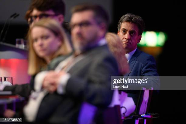 Shadow Secretary of State for Business, Energy and Industrial Strategy Ed Miliband listens to a speech on September 26, 2021 in Brighton, England....