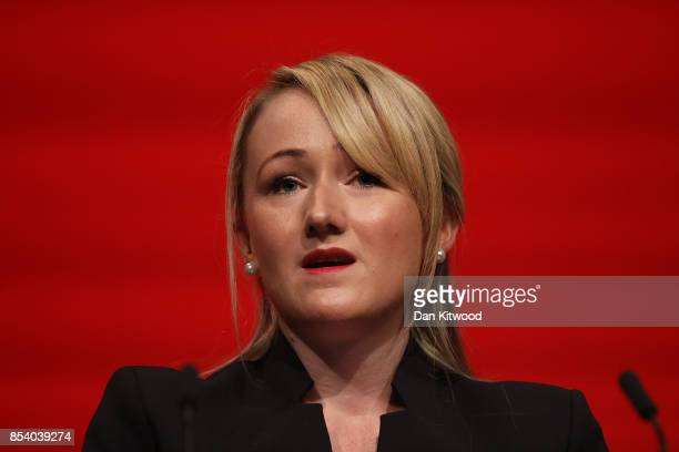 Shadow Secretary of State for Business Energy and Industrial Strategy Rebecca LongBailey's speaks in the main hall on day three of the annual Labour...