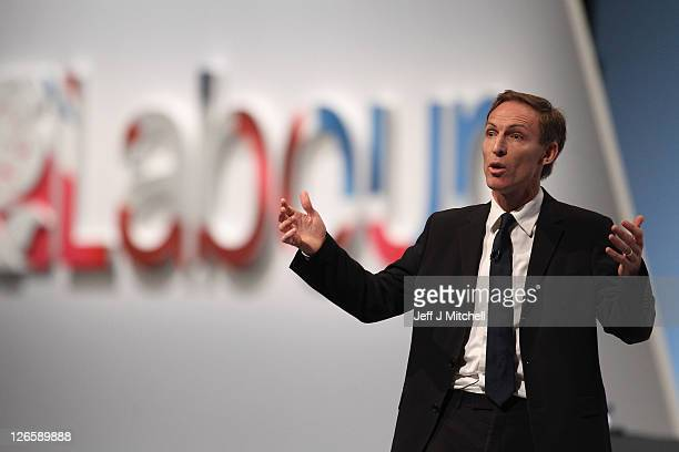 Shadow Secretary of State for Defence Jim Murphy addresses the Labour party conference at the Echo Arena on September 26, 2011 in Liverpool, England....