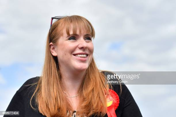 Shadow Secretary of State for Education Angela Rayner looks on as Lord John Prescott delivers a stump speech at Ashton United Football Club on May 27...