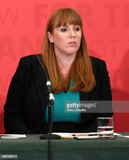Shadow Secretary of State for Education Angela Rayner looks on as Labour leader Jeremy Corbyn gives a speech at Church House in Westminster on May 31...