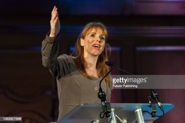 Shadow Secretary of State for Education Angela Rayner MP speaks during a rally against school cuts in central London The protesters including school...