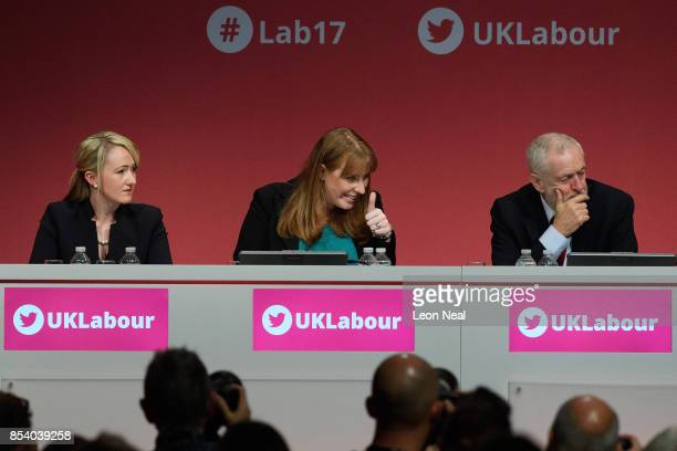 Shadow Secretary of State for Education Angela Raynor gestures to a friend as she sits with Shadow Business Secretary Rebecca LongBailey and Labour...