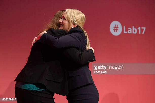 Shadow Secretary of State for Education Angela Raynor is congratulated by Shadow Business Secretary Rebecca LongBailey after she addressed delegates...