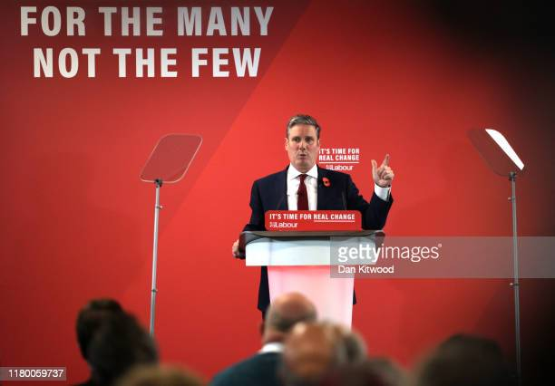 Shadow Secretary of State for Exiting the EU Keir Starmer addresses the audience at the Harlow Hotel on November 5 2019 in Harlow England