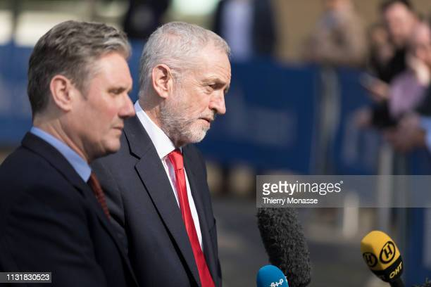 Shadow Secretary of State for Exiting the European Union Sir Keir Starmer KCB QC and the British Labour leader and Leader of the Opposition Jeremy...