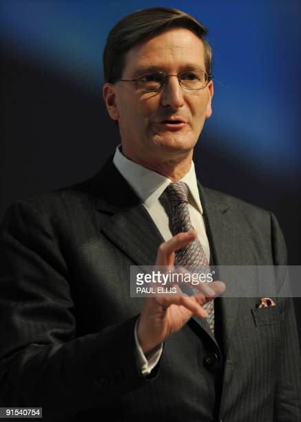 Shadow Secretary of State for Justice Dominic Grieve speaks during the third day of the Conservative Party Conference in Manchester northwest England...